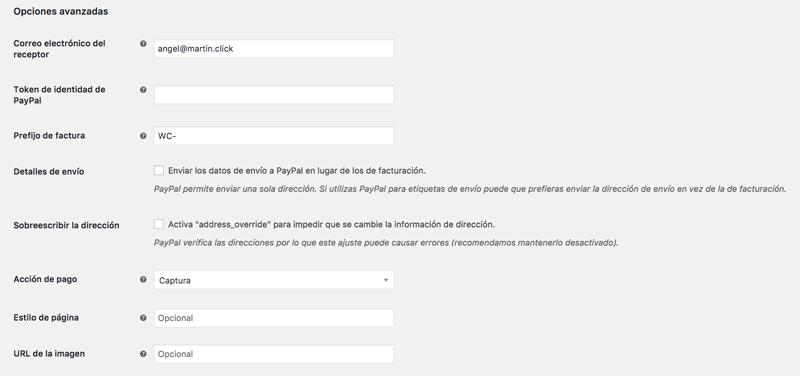 Opciones avanzadas de la configuración de PayPal en WooCommerce