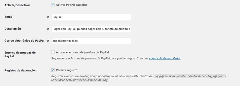 Opciones básicas de la configuración de PayPal en WooCommerce