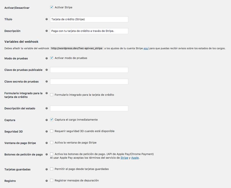 Opciones de configuración de Stripe en WooCommerce
