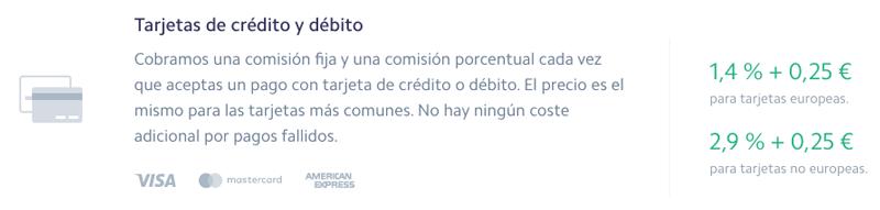 Comisiones y tarifas de Stripe.