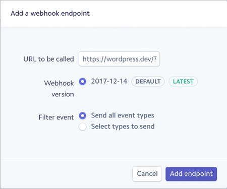 Añade tu URL Webhook en Stripe para conectar la pasarela con WooCommerce