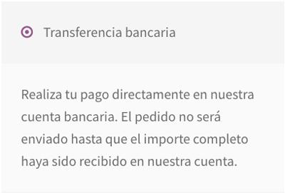 Vista de cómo aparece la transferencia bancaria en las opciones de pago de la página de checkout
