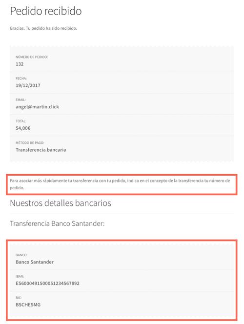 El usuario recibe las instrucciones para realizar la transferencia bancaria en la página de resumen de pedido