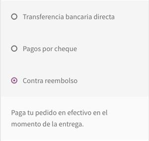 Vista de cómo aparece el pago contra reembolso en las opciones de pago de la página de checkout.