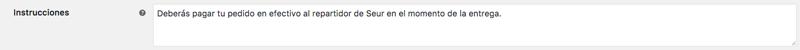 Las instrucciones se muestran en la página de resumen de pedido y en el correo de confirmación de pedido que se envía al usuario.