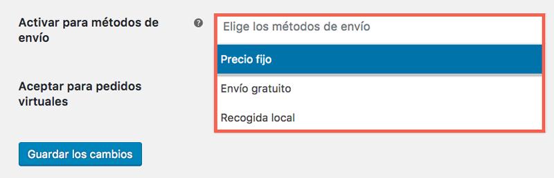 El selector de métodos de envío te permite vincular el pago contra reembolso a un/os método/s concreto/s.