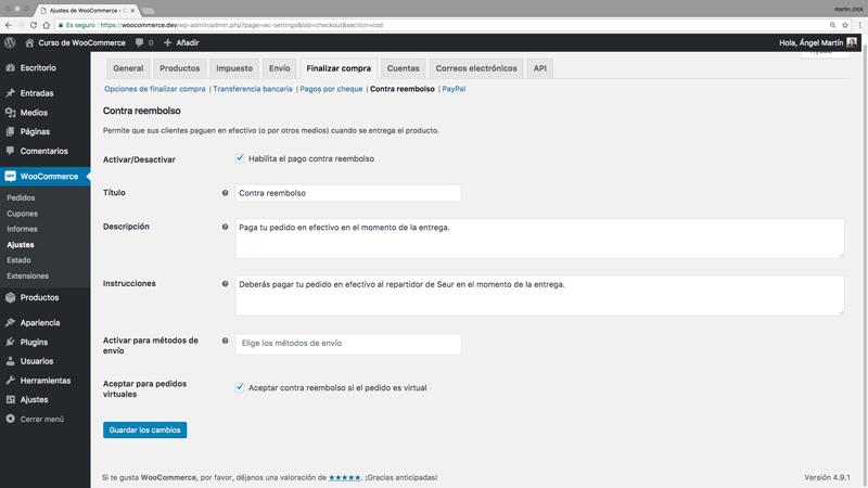Panel de opciones de pago contra reembolso de WooCommerce.