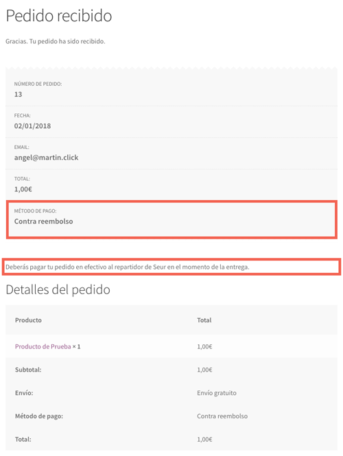 El usuario recibe las instrucciones para pagar su pedido en la página de resumen de pedido.