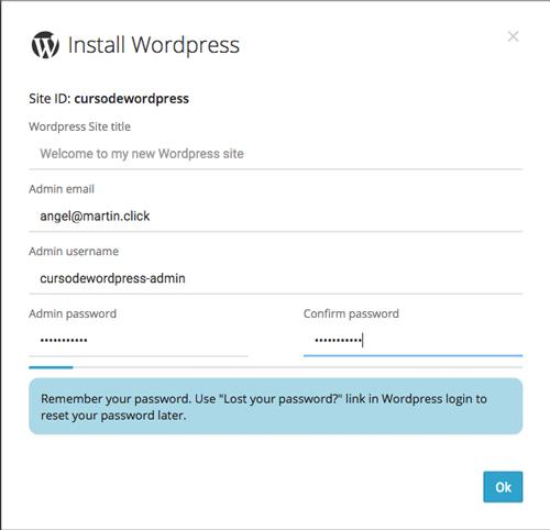 Para terminar la instalación, define los datos de acceso del usuario administrador de WordPress