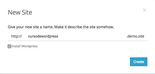 Define el subdominio para tu nuevo site en Pilvia.com e indica si quieres instalar WordPress en él