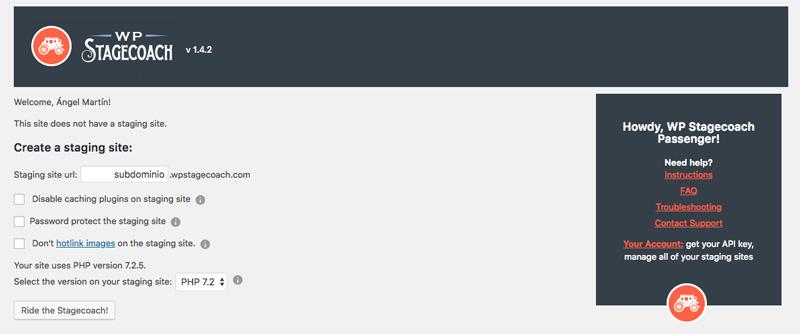 Generar un staging de tu web con WP Stagecoach es tan fácil como completar estas cinco opciones