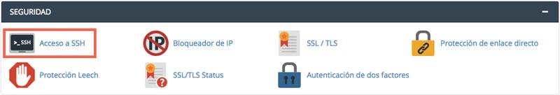 Si tu hosting tiene habilitadas las conexiones SSH deberás encontrar una opción para su gestión en tu panel de control