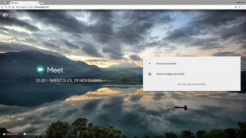 En la web de Google Meet tan solo tienes dos opciones disponibles