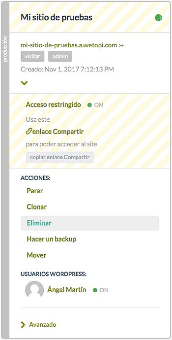 Wetopi: cómo crear tu WordPress en menos de 15 segundos - Despliega el menú de opciones y haz click en Eliminar para quitar este server