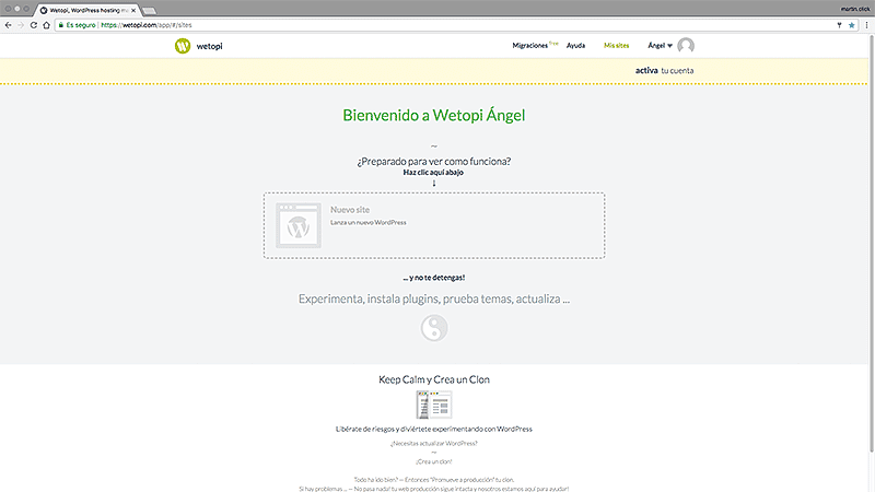 Wetopi: cómo crear tu WordPress en menos de 15 segundos - Pantalla de gestión de sites en Wetopi