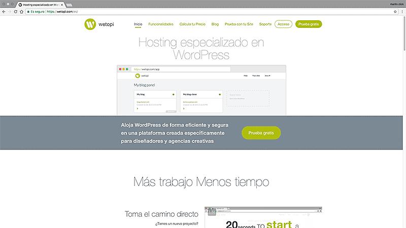 Wetopi: cómo crear tu WordPress en menos de 15 segundos - Pantalla principal de Wetopi