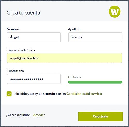 Wetopi: cómo crear tu WordPress en menos de 15 segundos - Registro de usuario en Wetopi